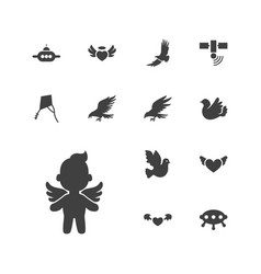 13 flying icons vector