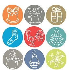 2017 christmas icons with rooster vector image vector image