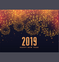 2019 happy new year fireworks background vector