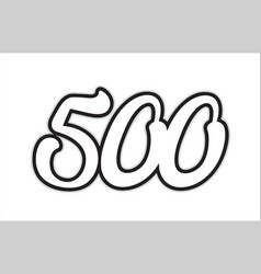 500 black and white number logo icon design vector