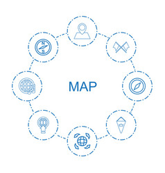 8 map icons vector image
