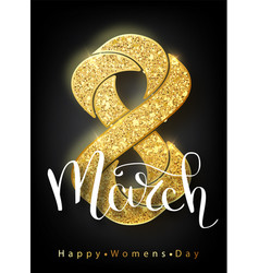 8 march gold glitter for women day greeting card vector image