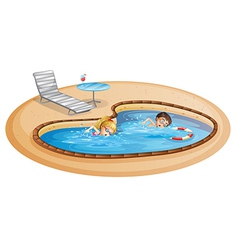 A girl and a boy swimming at the pool vector image