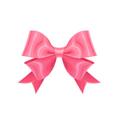 Adorable pink double ribbon bow design element vector