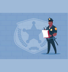african american policeman writing report wearing vector image