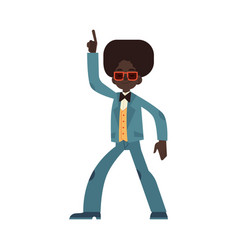 african man dancing disco vector image