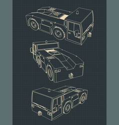 airport tow tractor blueprints vector image