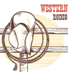 American west cowboy hat and lasso on wood vector