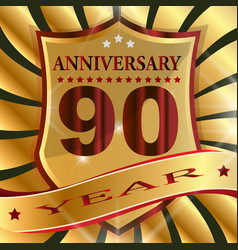 anniversary 90 th label with ribbon vector image
