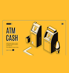 atm cash withdraw service isometric website vector image
