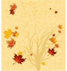 Autumn background and tree silhouette vector