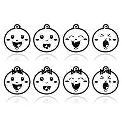 Baby boy girl face - crying with soother s vector
