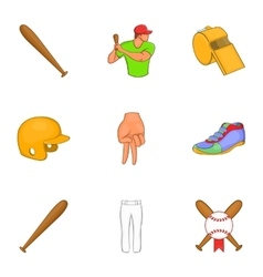 Baseball sport icons set cartoon style vector