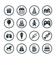 Birthday icons universal set vector