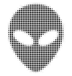 Black dotted alien face icon vector