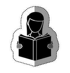 Black silhouette sticker with woman reading a book vector