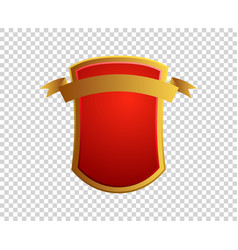 blank red and gold shield and ribbon on vector image