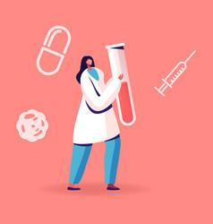 Blood test on hepatitis female nurse or doctor vector