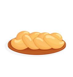 Braided bread challah vector