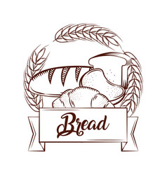 Bread croissant toasts bake tasty banner vintage vector