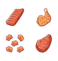 Butchers meat color icons set grilled chicken ham vector