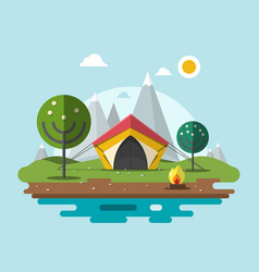 camping in nature flat design landscape with ten vector image