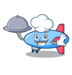 Chef with food zeppelin mascot cartoon style vector