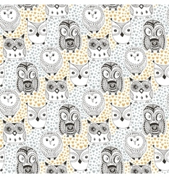 Childish pattern with funny owl Doodle hand drawn vector image