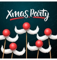 Christmas Party card Santa Claus moustache vector