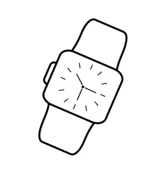 classic analog watch wearable technology outline vector image