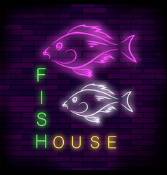colorful neon fish house sign vector image