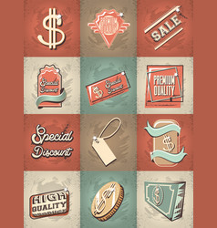 Commercial labels retro style vector