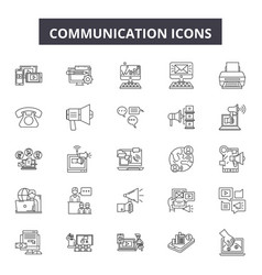 communication line icons signs set vector image