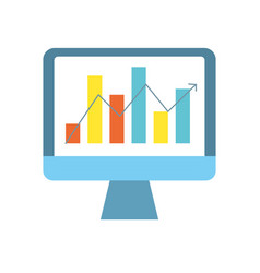 Computer technology with statistics bar diagram vector