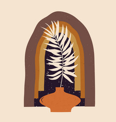 Contemporary aesthetic composition with palm vector