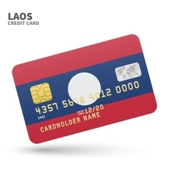 Credit card with Laos flag background for bank vector
