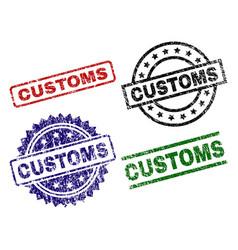 Damaged textured customs stamp seals vector