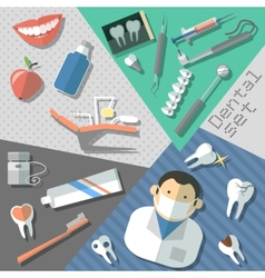 Dental stickers set vector
