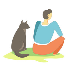 dog pet sitting with owner full in thoughts vector image