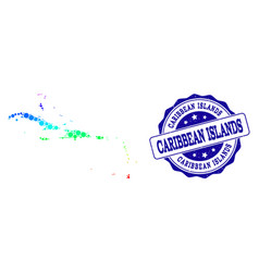 Dotted spectrum map of caribbean islands and vector