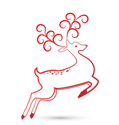 festive christmas deer icon vector image