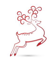 festive christmas deer icon vector image