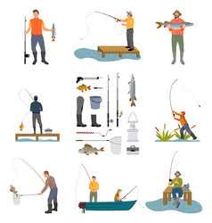 Fishing people and items set vector