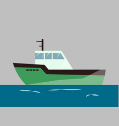 fishing ships water isolated transport vector image