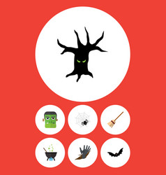 Flat icon halloween set of broom superstition vector