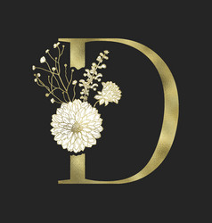 floral alphabet and gold serif letter vector image