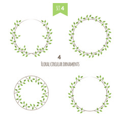 floral circular ornaments fourth set vector image