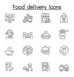 food delivery icons set in thin line style vector image