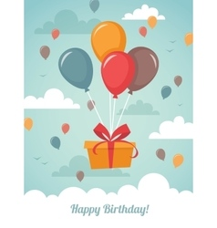 Gift box with balloons vector