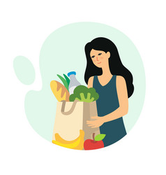 girl brought groceries in package home vector image